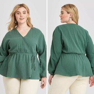 Women's Plus Size Long Sleeve Gauze Wrap Blouse 1X